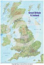 United Kingdom GB UK Physical Road Map Professionally LAMINATED Poster