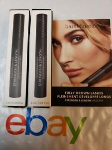 2X NEW Bare Minerals Strength & Length Serum-Infused Mascara   2mL Travel Size