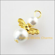 10Pcs Gold Plated Wings White Dancing Angel Charms Pendants 14x22mm