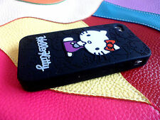 Cute black Hello Kitty Silicone Gel Caoutchouc Housse complet pour iPhone 4 4S