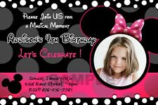 MINNIE MOUSE HOT PINK DOTS BLACK PHOTO BIRTHDAY PARTY INVITATION INVITE 1ST - C3