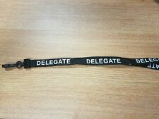 10x DELEGATE Pre-Printed Black Lanyards with Safety Breakaway