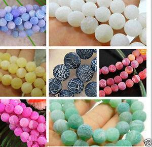 "Dream Fire Dragon Veins Agate Gems Loose Beads 6-8-10mm 9 Colour 14"""