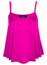 Womens Ladies New Camisole Cami Plain Strappy Flared Sleeveless Swing Vest Top
