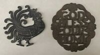 Vintage Footed Trivet Lot of 2 - God Bless Our Home & Rooster Wilton Cast Iron