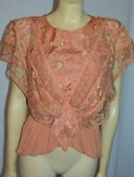 vintage embroidered Lace stunning  Dress Shirt Top Blouse S ITALY handmade