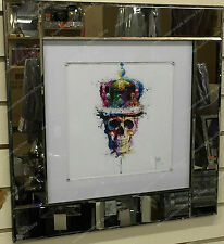 Multi coloured skull with crown, crystals, liquid art & mirror frame picture
