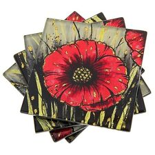 Set 4 Red Poppy And Gold  Glitter Beautiful Glass Coasters 27063