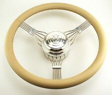553Tan Banjo Style Steering Wheel with  V8 Horn Button