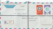 XX2508 Vila reg air  Nov 1980 WHO cover UK; 2 stamps, Rotary Club, map stamps