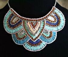 Vintage Beaded Silver Tone Collar Bib Necklace