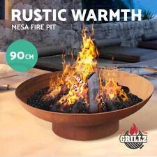 Grillz Fire Pit Outdoor Heater Charcoal Wood Burner Fireplace Iron Brazier 90CM