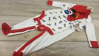 Official Disney MICKEY Baby 3 Piece Romper SET White / Red 0-3 Mnth B123-3