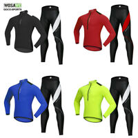 Men's Long Sleeve Cycling Jersey&Pants Set Bicycle Tops Padded Trousers Riding