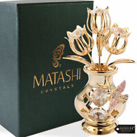 Matashi 24K Gold Plated Clear Crystal Flower Ornament in Vase Gift For Weeding