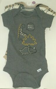 New Baby Boy 0-3 Months Gerber Onesies Dinosaur 100% Cotton 3 Pack