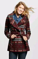 Mossimo Women's Faux Wool Wrap Jacket Burgundy Orange Button Hood Size Medium