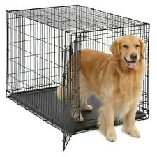 """42"""" Dog Pet Cat Crate Cage Kennel Folding Metal Wire Steel 2 Door With Tray Pan"""