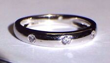 New Fine .10CT F VS Diamond 18K White Gold Ring Band Size 7
