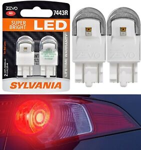 Sylvania ZEVO LED Light 7443 Red Two Bulbs Brake Stop Tail Replace Upgrade Lamp
