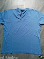 Authentic Mens Prada Classic Celestial Blue V-Neck Cotton Jersey T-Shirt Size XS