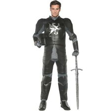 Knight Costume Men's Black 8Pc Tunic Pants Gloves Elbow Guards & Shoe Spats Xxl