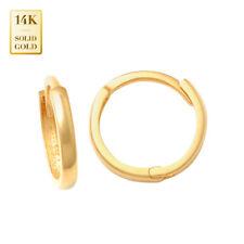 14K REAL Solid Gold Baby Tiny Mini Hoop Earrings Huggie Hinge Hoop Piercing
