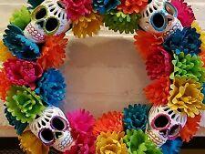 "DAY OF THE DEAD DIA DE LOS MUERTOS SUGAR SKULL & FLOWER HALLOWEEN WREATH 16"" NEW"