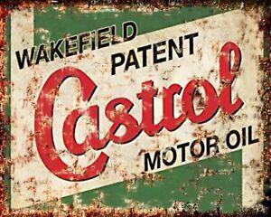 CASTROL MOTOR OIL CAR MECHANIC MOTORCYCLE GARAGE WORKSHOP METAL TIN SIGN 1332