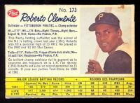 1962 POST CANADIAN baseball 173 Roberto bob Clemente EX+ Pittsburgh Pirates card