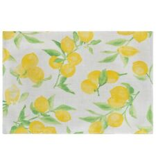 Food Network Lemon Print Woven Fabric Placemat with Yellow Lemons NEW