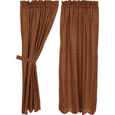 """Burgundy Check Scalloped Curtain Short Panel Set by VHC Brands - 63"""" x 36"""""""