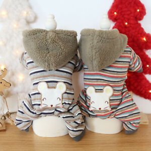 Dog Clothes Striped Happy Mouse Pet Jackets Coat Cat Dog Jumpsuits Rompers