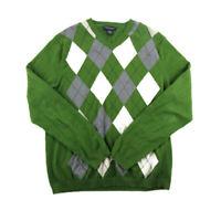 Banana Republic Mens VNeck Sweater Green White Argyle Cotton Cashmere  Size M