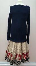 Impresionante MONNALISA Niñas Vestido Edad 12 Perfecto Vestido De Navidad Azul Marino Rojo Arcos