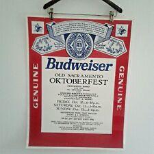 Vtg Genuine Budweiser Poster Ad Old Sacramento Octoberfest 1992 Beer Man Cave