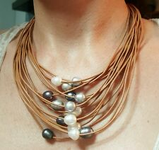 Waterfall of freshwater pearl brown leather necklace grey black Hawaii style