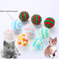 KQ_ Cy_ Pet Cats Dogs Color Block Plush Bell Ball Bite-resistant Chew Toy Sur