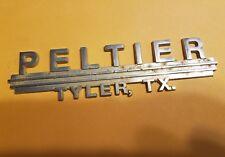 Peltier--Tyler Tx--Metal  Dealer Emblem Car  vintage 01/24