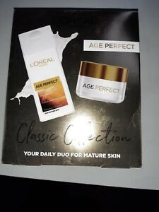 LADIES 'L'OREAL' AGE PERFECT CLASSIC DUO IN BOX : CLEANSING MILK & DAY CREAM