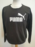 H544 WOMENS PUMA FADED BLACK WHITE EMBLEM CREW NECK COTTON JUMPER UK 12 EU 40
