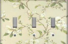 MAGNOLIA ON BEIGE - MAGNOLIA HOME WALL DECOR TRIPLE LIGHT SWITCH PLATE
