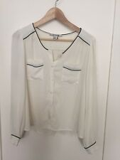 Forever 21 White with Black Piping Button Down Career Blouse Long Sleeve Sz M