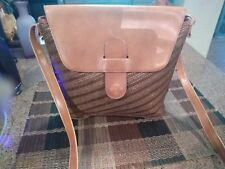 VINTAGE CARLA MARCHI  ITALIAN Leather Handbag Purse TAN CROSSBODY