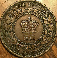 1864 NEW BRUNSWICK LARGE 1 CENT PENNY COIN - Small 6