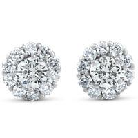1ct Halo Round Diamond Studs 14k White Gold 7.3mm