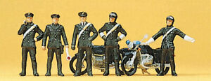 10175 Preiser HO 5 carabinieri con 2 motociclette scala 1:87