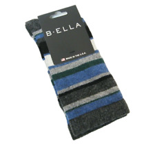 b.ella Ladies Wool Cashmere Angora Blend Crew Socks Althea Stripe Char Blue Dusk