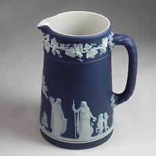 "Antique Wedgwood Trojan Jug Dark Blue Jasperware Pitcher England 5.25"""