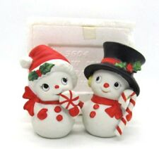 Homco Snowman & Snowlady with Candy Cane Pair #5604 Vintage Never Displayed